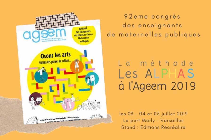 RV à l'AGEEM 2019 à Versailles, le congrès des enseignants de maternelles