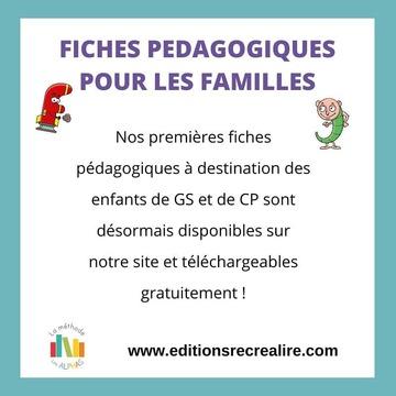 📢 CONTENUS PÉDAGOGIQUES EN LIGNE 📢  Vous les attendiez...ils sont désormais disponibles ! Parents, pour vous aider à accompagner vos enfants, nous mettons à votre disposition des fiches pédagogiques sur notre site www.editionsrecrealire.com, en cliquant sur l'onglet LES ALPHAS > LES RESSOURCES >Mes activités à la maison. À destination des enfants de GS et de CP, elles vous permettront de continuer l'apprentissage des Alphas à la maison avec vos enfants. Nous vous remercions pour votre patience 😉 Les prochaines fiches seront publiées vendredi. Bon courage à tous et bon apprentissage ! 🤞