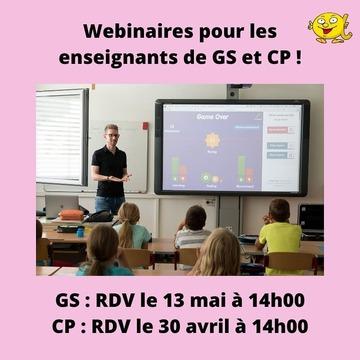 [MARDI PÉDAGOGIE]  Enseignants de GS et CP, vous avez toujours la possibilité de nous rejoindre pour un webinaire afin d'échanger sur la méthode de lecture Les Alphas et la manière de l'appliquer auprès de vos élèves !  RDV pour un webinaire d'environ une heure le 30 avril à 14h00 (heure française) pour les enseignants de CP, et le 13 mai à 14h00 pour les enseignants de GS.  Si vous êtes intéressé, n'hésitez pas à nous envoyer un message afin de pouvoir y participer ! *Ces webinaires sont destinés aux enseignants dans un cadre professionnel, nous avons d'autres formats pour les parents. Ces deux sessions s'attachent à la pédagogie Les Alphas avec des élèves en classe.  #lesalphasofficiel #lesalphas #methode #lecture #recrealire #edition #pedagogie #apprentissage #webinaire #accompagnement #enseignants #GS #CP #echange #apprendre