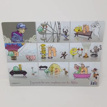 """[MARDI PÉDAGOGIE] - Les sous-mains des Alphas GS et CP -  Les sous-mains des Alphas pour les élèves de GS et CP sont de véritables outils pédagogiques recto-verso qui agissent comme des mémos visuels pour les enfants avec leurs formats A3, en classe ou à la maison.  Comme les posters de référence présentés la semaine dernière, le sous-main des Alphas CP (recto et verso sur les photos 1 et 2) permet de faire travailler les enfants sur les correspondances complexes et est utilisé dans le cadre des étapes 2 et 3 de la méthode de lecture.  Le recto (photo 1) permet de faire découvrir de nouveaux sons représentés par 2 ou 3 lettres (""""ou"""", """"an"""", """"in"""", """"oin""""...) grâce aux personnages des Alphas en situation [étape 2] et le recto (photo 2), d'apprendre que certains sons peuvent s'écrire de différentes manières (ex : /o/ = """"o"""", """"au"""", """"eau"""") [étape 3]. Cela va permettre aux enfants de bien assimiler les correspondances complexes afin de lire sereinement des textes.  Un sous-main pour les GS (recto et verso visibles sur les photos 3 et 4) est également disponible pour acquérir le déclic lecture dans le cadre de l'étape 1 de la méthode. Il présente au recto tous les personnages des Alphas et les différents types d'écriture au verso afin que l'enfant puisse faire la correspondance entre les Alphas et les lettres et commencer à lire.  #lesalphasofficiel #lesalphas #methode #lecture #recrealire #edition #pedagogie #apprentissage #texte #correspondance #son #illustration #comprehension #mots #reference #sousmain"""